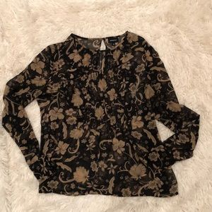 Who What Wear Floral Sheer Top